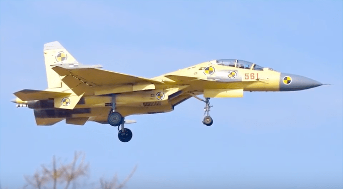 A tandem version of the J-15 fighter is spotted in a news program aired by the state broadcaster.  Photo: CCTV screen grab
