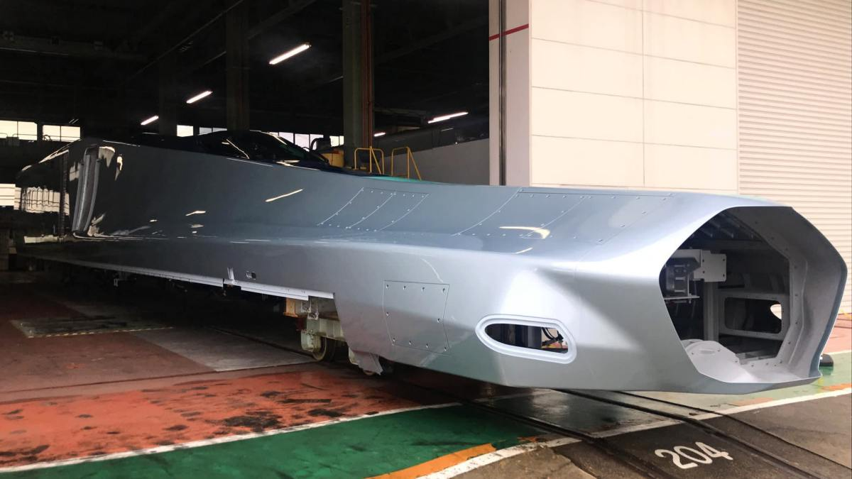 A prototype nose section, still incomplete, of the next-generation Shinkansen bullet train.  Photo: Nikkei