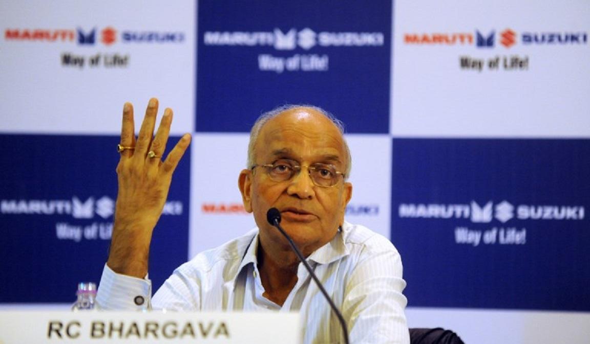 Maruti Suzuki chairman R C Bhargava at a press conference in New Delhi. Photo: AFP