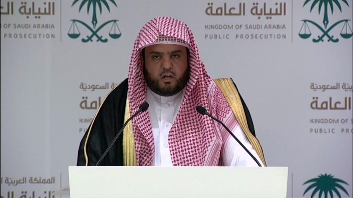 صورة من بث التليفزيون السعودي للمتحدث باسم النيابة العامة شلعان الشلعان في مؤتمر صحفي في 15 نوفمبر/تشرين الثاني، يعلن فيه توجيه الاتهامات ل11 شخص في مقتل الصحفي جمال خاشقجي. صورة: AFP PHOTO / SBA