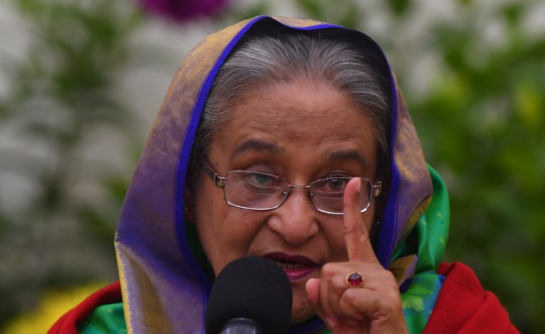 Bangladesh Prime Minister Sheikh Hasina at a press conference in Dhaka on December 31, 2018. Photo: Indranil Mukherjee / AFP