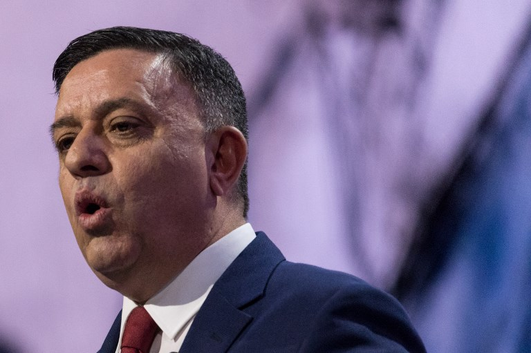 Avi Gabbay, chairman of the Israeli Labor Party, addresses a conference in March. Photo: AFP