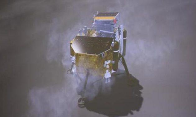 嫦娥四號著陸月球模擬圖 相片: 中國探月與深空探測網