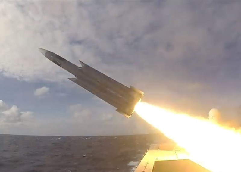 A Hsiung Feng-3 anti-ship missile is fired from the Tuo Jiang stealth corvette. Photo: Handout