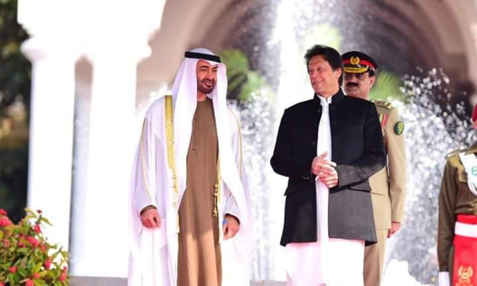 巴基斯坦總理伊姆蘭汗和阿聯酋王儲Sheikh Mohammed bin Zayed Al Nahyan上周日出席了歡迎儀式。相片:Twitter / @pid_gov