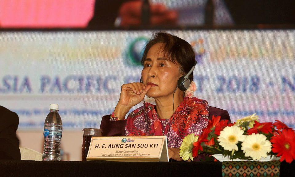 緬甸的文職領導人昂山素姬參加2018年12月1日在加德滿都(Kathmandu)舉行的2018年亞太峰會。相片:AFP / Sunil Sharma / Pool