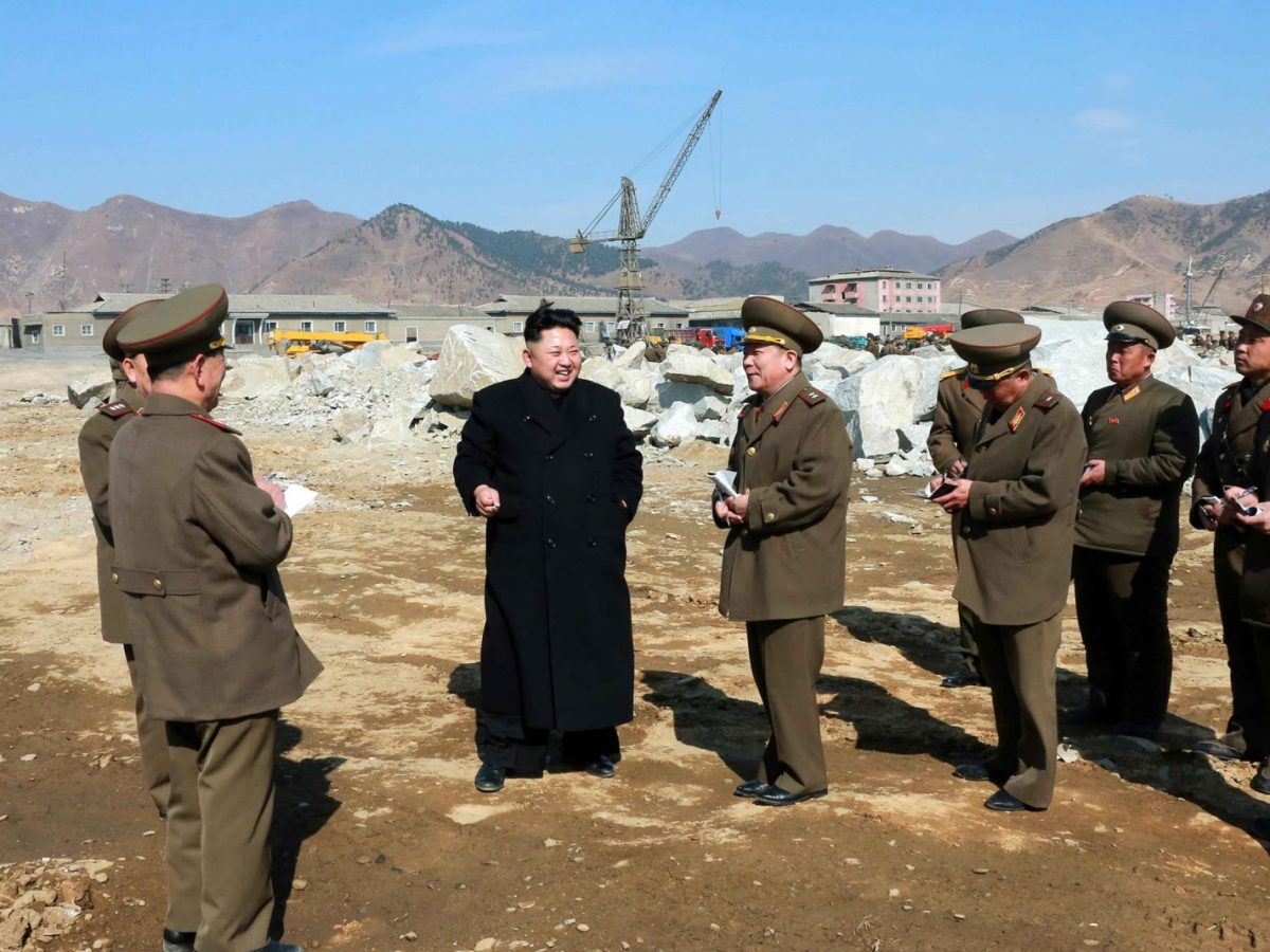 North Korean leader Kim Jong-Un inspects a construction site at an undisclosed place in North Korea in 2015. Modernizing the country is a massive undertaking. Photo: AFP/KCNA via KNS