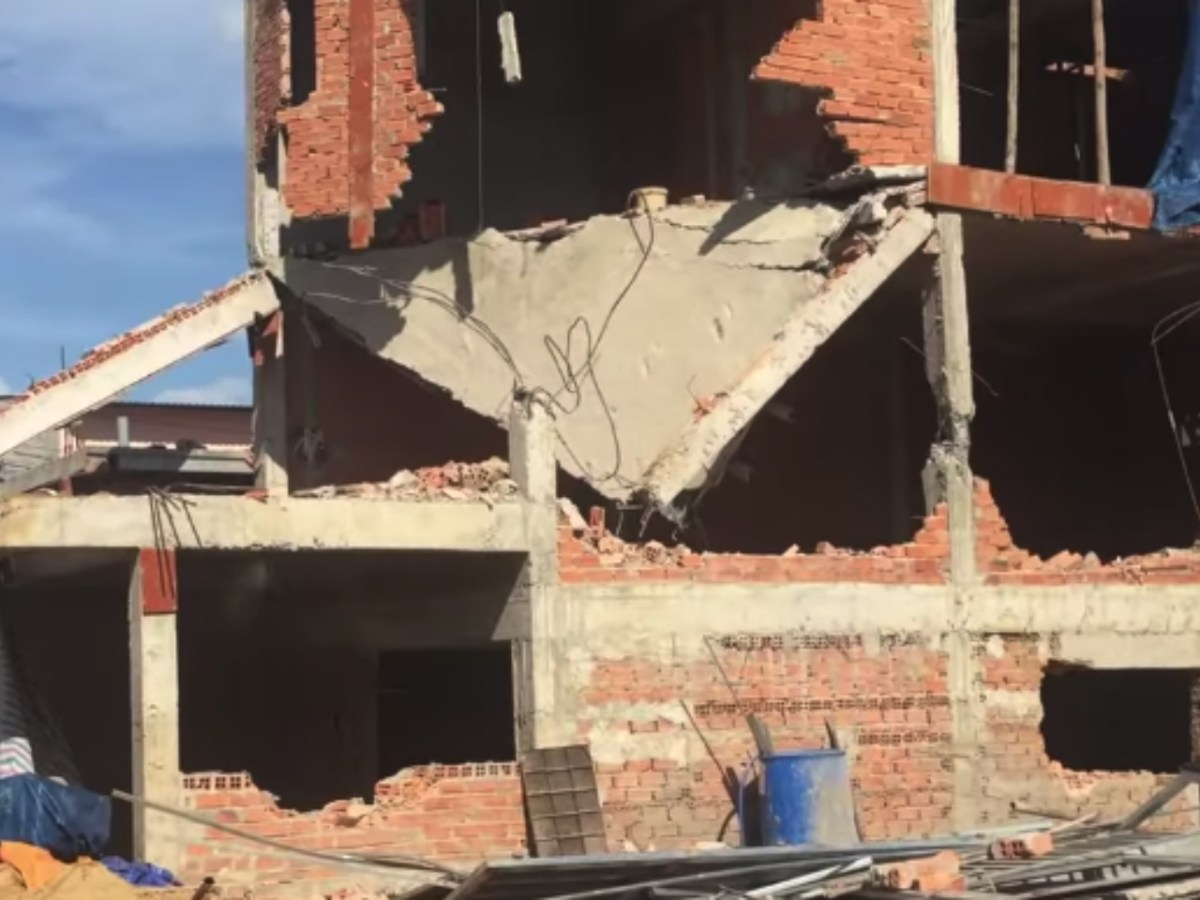 A building knocked down in the demolition. Photo: YouTube