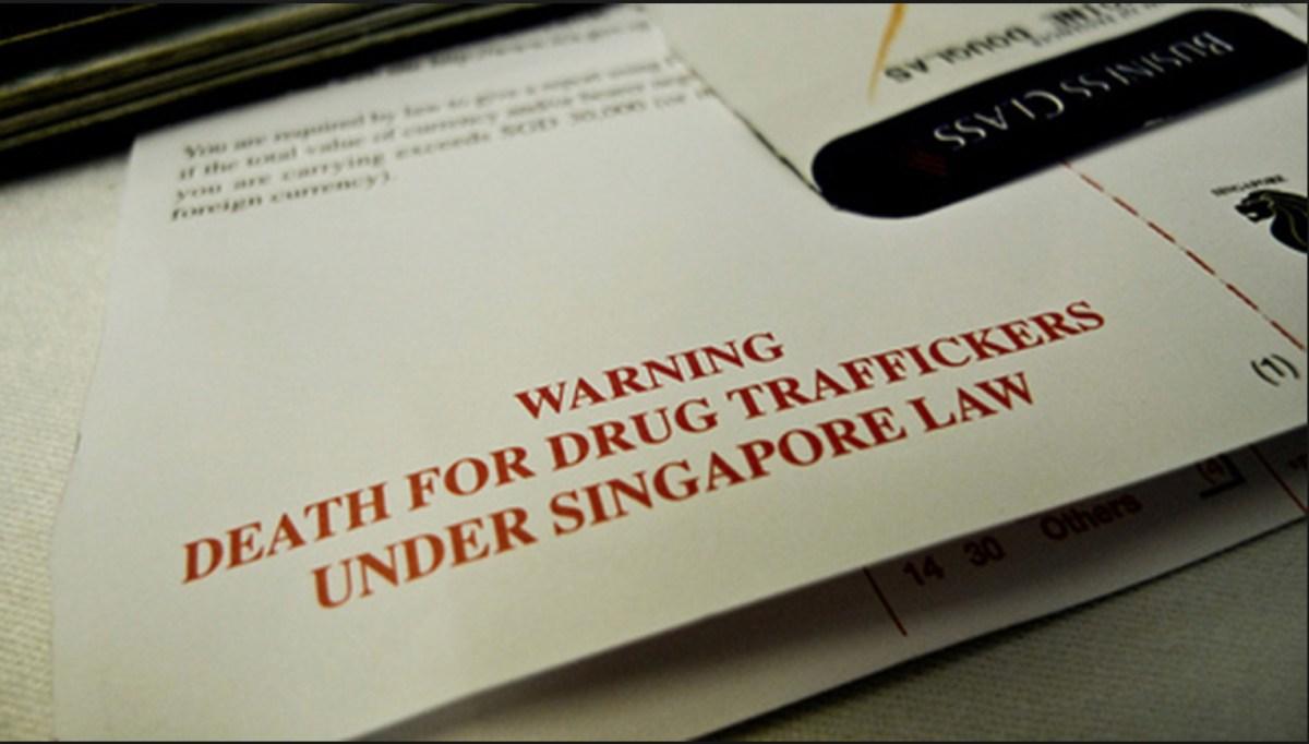 A Singapore immigration form warning against drug trafficking. Image: Facebook