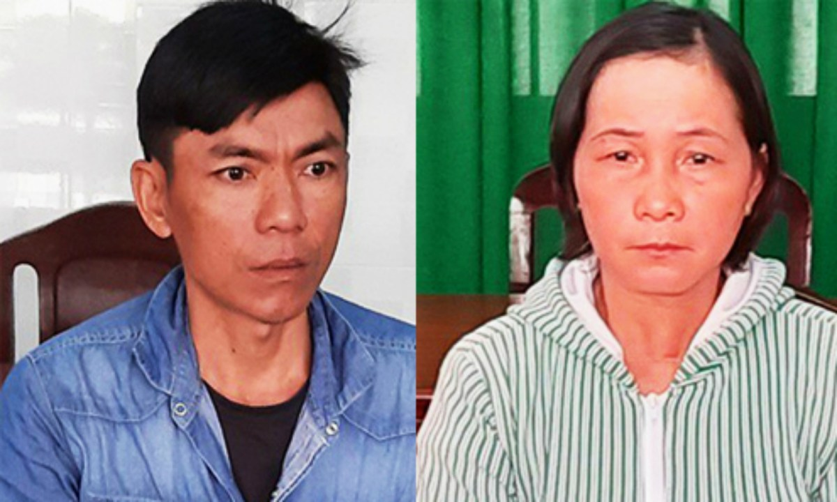 Huynh Thi Thu Suong  (right) and her husband. Photo: Long An Police.
