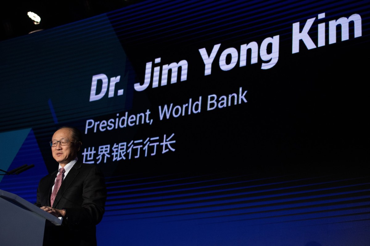 World Bank President Jim Yong Kim delivers a speech during the 'reinvented toilet expo' in Beijing on November 6, 2018. Photo: Nicolas Asfouri / AFP