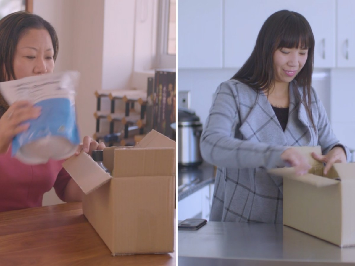 A woman (left) buys products and ships them to a Chinese customer (right). Photo: daigousales.com