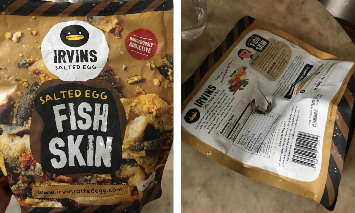 The lizard found inside the pack of fish skin snacks left Jane Holloway horrified. Photo: Jane Holloway@Facebook.