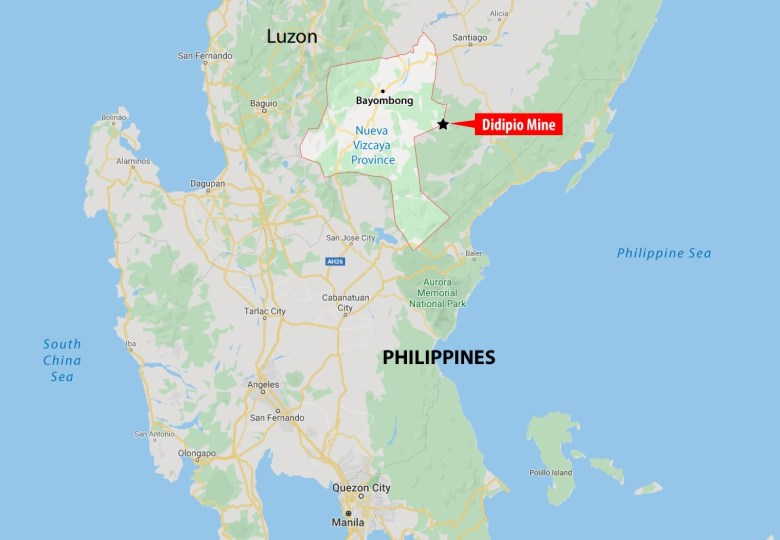 The location of the Didipio gold and copper mine in Luzon, 270km north of Manila, Philippines.