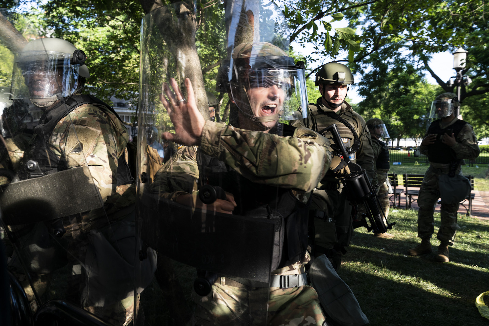 Troops gather during a demonstration on June 1, 2020 in Washington, DC. Photo: Joshua Roberts/Getty Images/AFP
