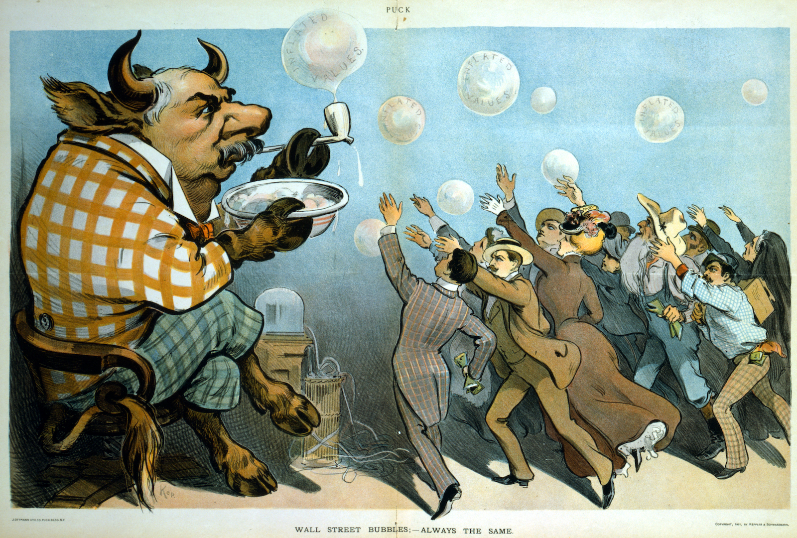 'Wall Street Bubbles – always the same,' 1901 cartoon by Keppler, depicts J.P. Morgan as a bull blowing soap bubbles for eager investors. Source: Wikimedia Commons