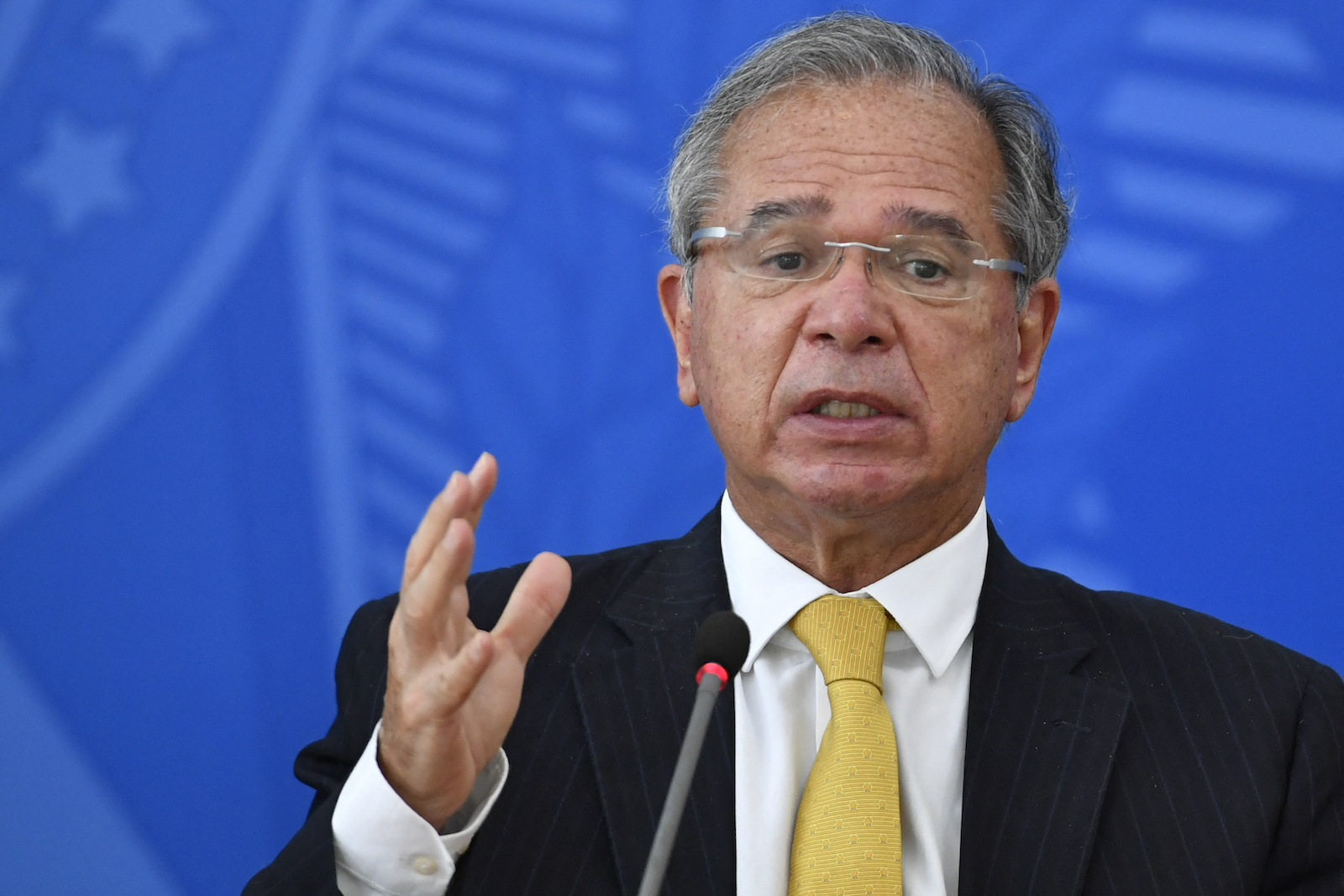 Minister of Economy Paulo Guedes, pictured on February 5, during a press conference to discuss energy policies. Photo: AFP/Mateus Bonomi/AGIF