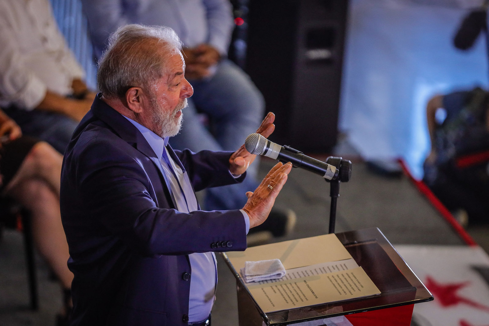 Lula at his press conference at the ABC Metalworkers Union. Photo AFP / Vanessa Carvalho / Brazil Photo Press
