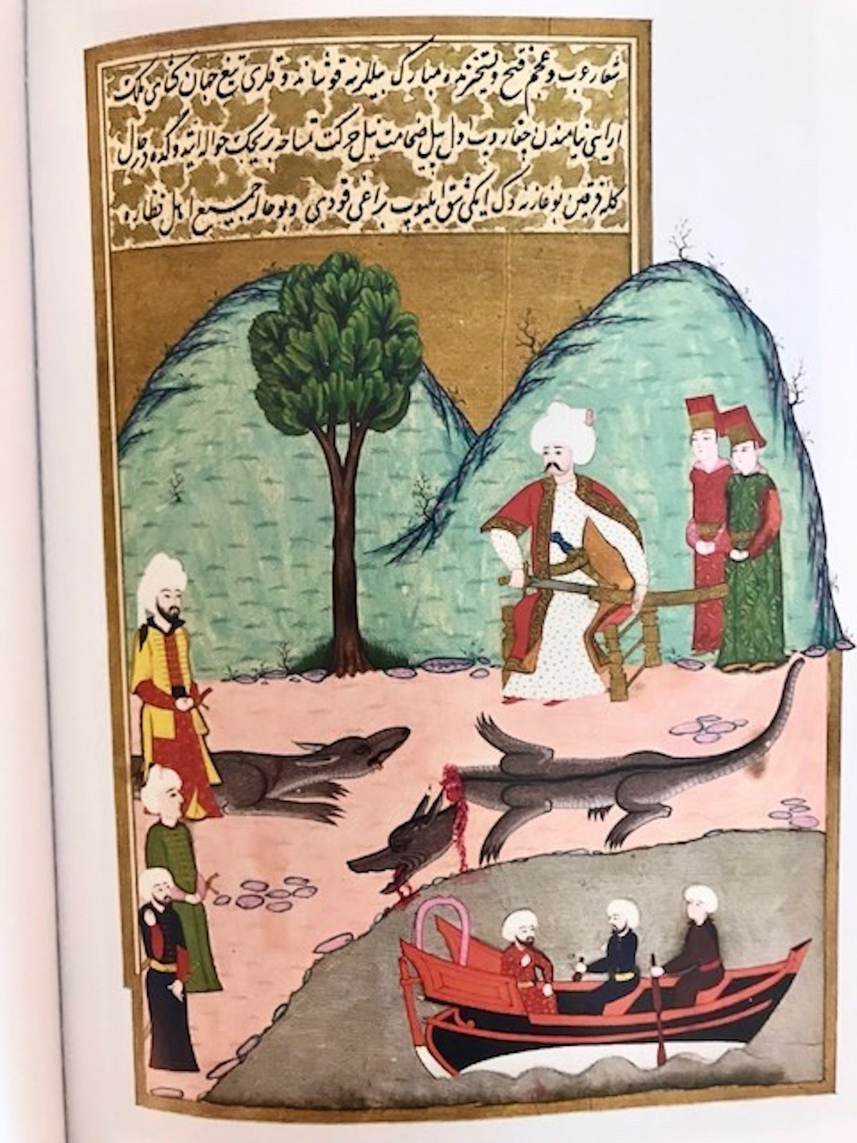 Selim casually hanging out with crocodiles in Egypt. Photo: Miniature included in the book