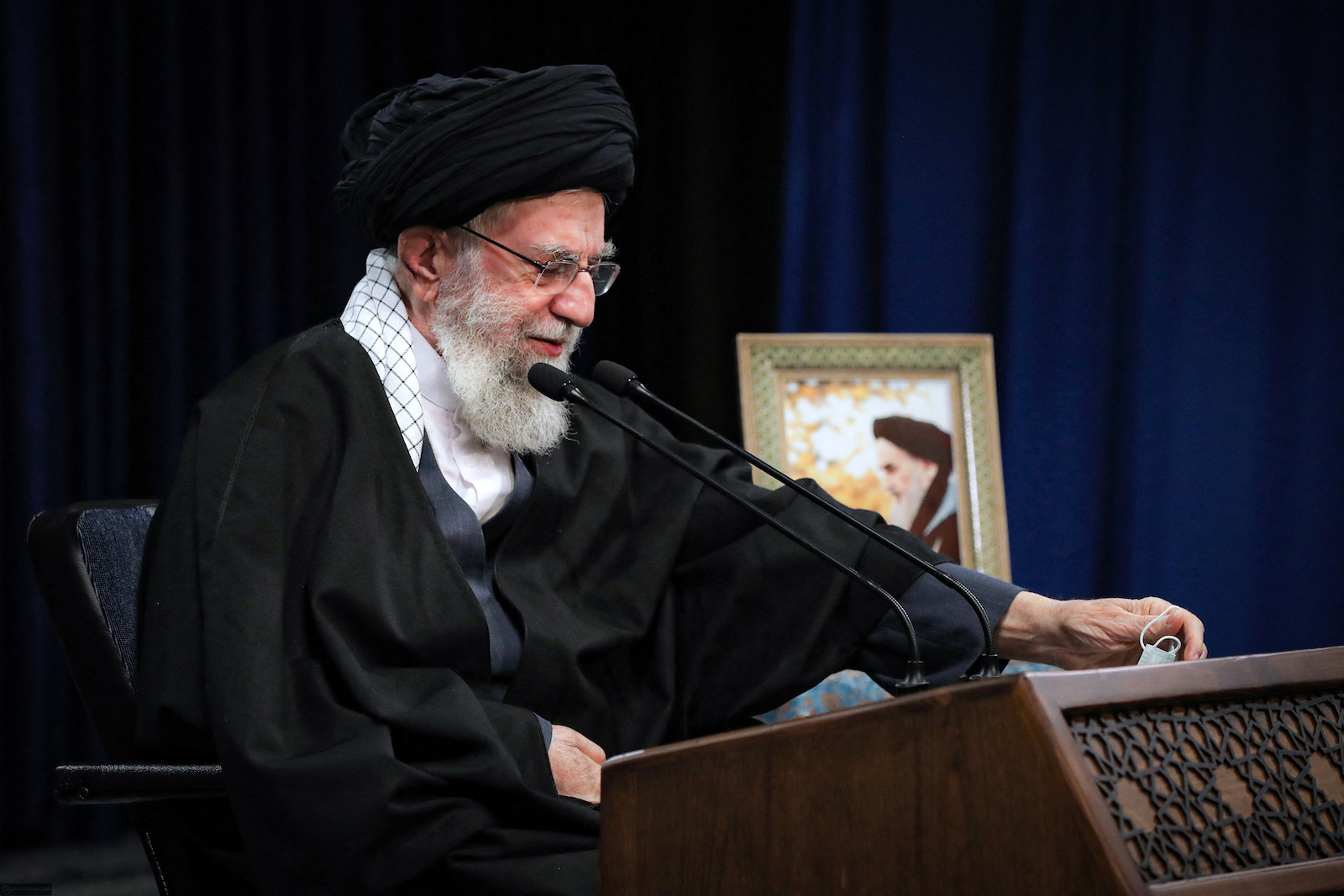 A handout picture provided by the office of Iran's Supreme Leader Ayatollah Ali Khamenei on January 8, 2021 shows him delivering a televised speech on the occasion of the 43rd anniversary of 1978 revolt in Qom which ignited the Iranian Revolution. Photo: AFP via KHAMENEI.IR