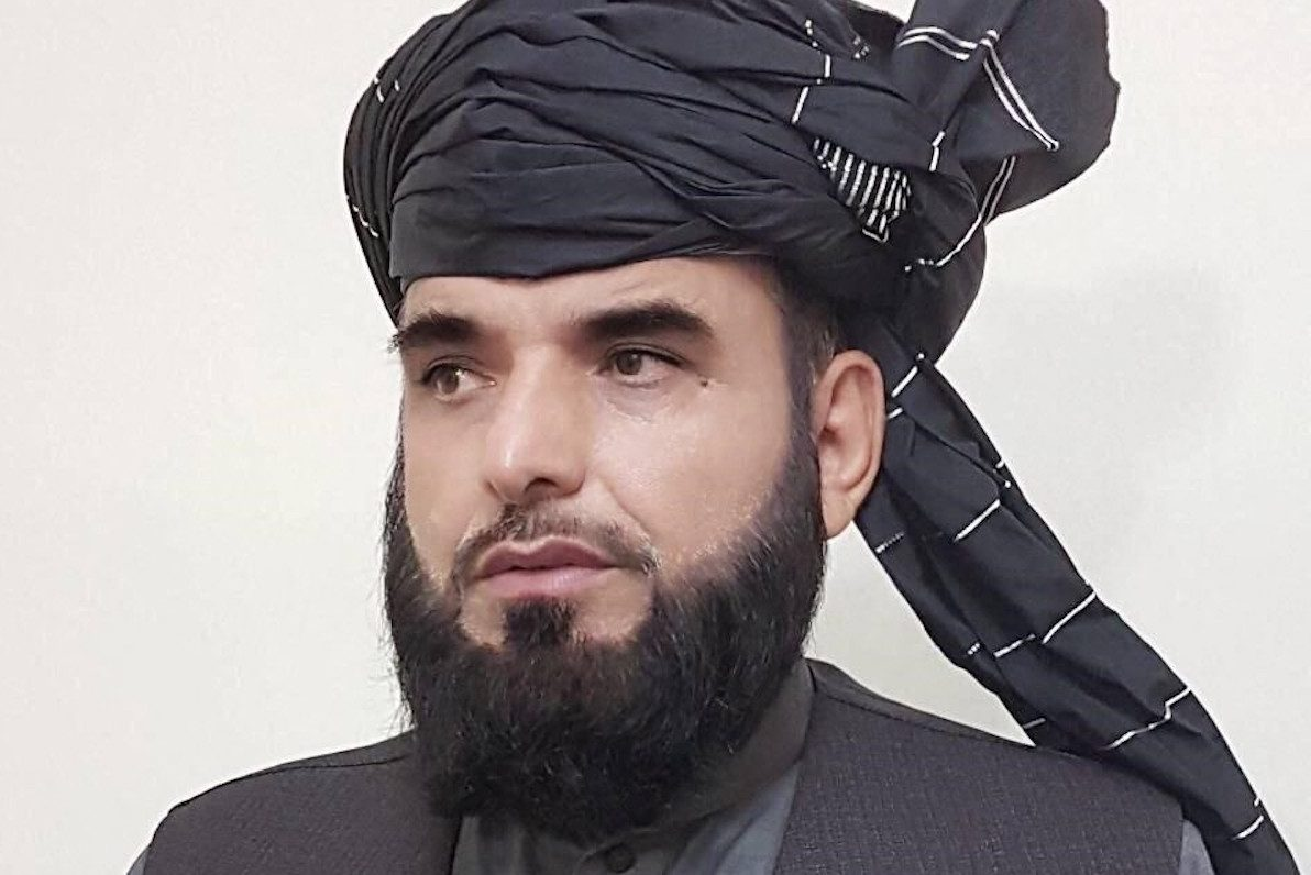 New face of the Taliban: The insurgents' spokesman Mohammad Suhail Shaheen speaks to media in Moscow on February 15, 2021. Photo: AFP / Elena Teslova / Anadolu Agency