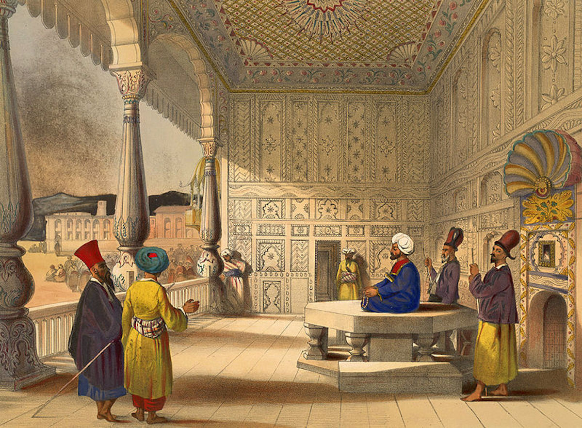 This lithograph by British Lieutenant James Rattray shows Shah Shuja in 1839 after his enthronement as Emir of Afghanistan in the Bala Hissar (fort) of Kabul.