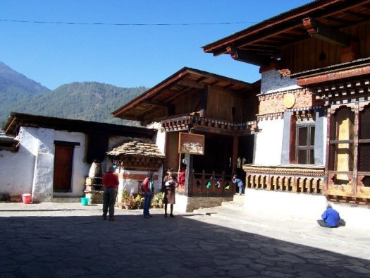 Main courtyard at one of the Best Places To Visit In Thimphu Bhutan, an ancient temple named Changangkha Lhakhang