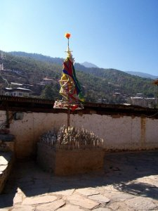 A religious structure at one of the Best Places To Visit In Thimphu Bhutan, an ancient temple named Changangkha Lhakhang