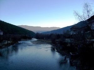 Beautiful River beside Tashichho Dzong, so peaceful and serene
