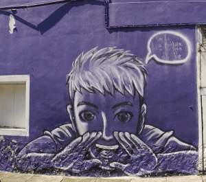 One of the famous Street Art in Penang - Shouting Boy
