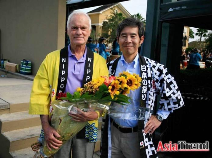 Mr. Harris Rosen, the Honorary. Consul General of Japan in Orlando and Mr. Ken Okaniwa, Consulate General of Japan in Miami at the Orlando Orlando Japan Festival 2016.