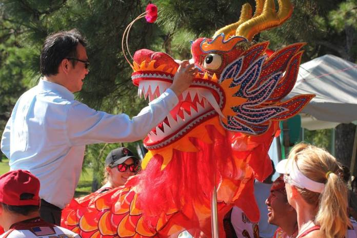 Eye dotting ceremony by Director General David Chien from Taipei Economic & Cultural Office in Miami