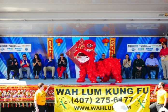 The 2019 Dragon Parade Lunar New Year Festival 2019 kick-start by Orange County Mayor Jerry L. Demings, Taipei Economic & Cultural Office In Miami Director General David Chien, Florida Representative Anna V. Eskamani, District 3 Commissioner: Robert F. Stuart, Commissioner Patty Sheehan, Orlando Police Department Chief Orlando Rolon, Orlando Fire Department Chief Roderick Williams, Orange County Commissioner Emily Bonilla, John Mina, Orange County Sheriff, Orange County Property Appraiser, Rick Singh CFA, and Wah Lum Kung Fu Temple Lion Dance team
