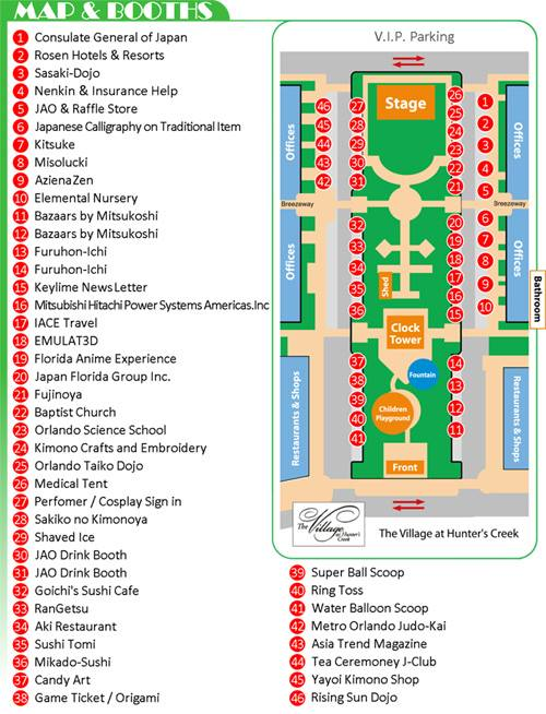Orlando Japan Festival booth map
