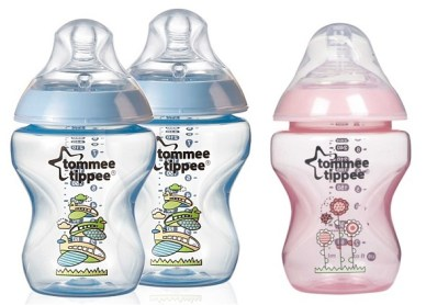 tommee tippee decorated bottle PINK dan BLUE