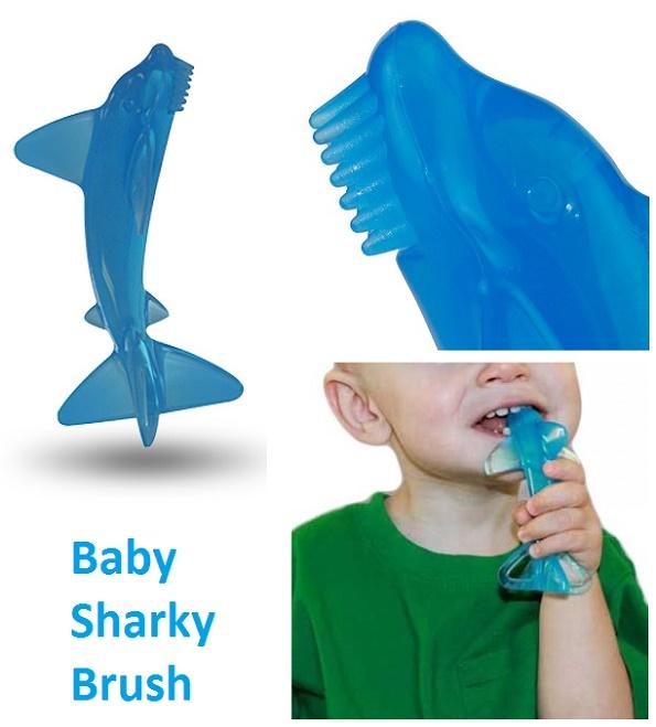 Baby Sharky Brush Gigitan dan Sikat Gigi Berbentuk Hiu Biru