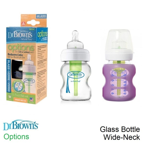 Dr Brown's Wideneck Glass Options Baby Bottle