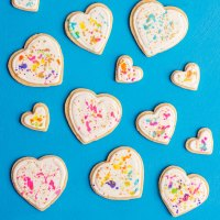 Colorful Splatter Paint Heart Cookies