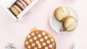 Gold Painted Heart Macarons with Raspberry Filling - A Side of Sweet