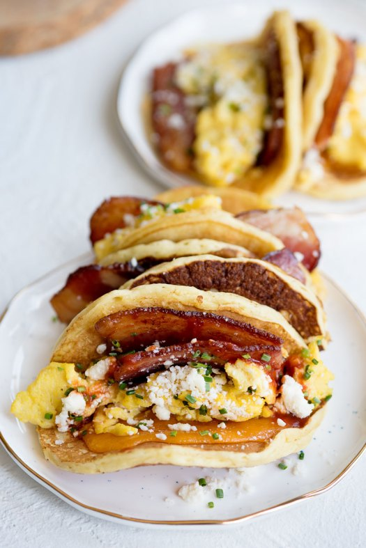 Bacon Breakfast Tacos Recipe with Pancake Shells