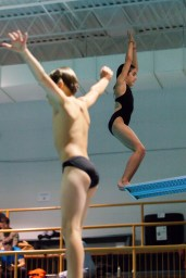 Eight year old athlete Adam Samson (left), and nine year old Solène Bougon (right), prepare to dive during a training with Club Aquatique Rosemont-Petite-Patrie, on Tuesday, Nov. 3, 2015, at the Rosemont Pool, in Montreal, Que. The Club of two girls and four boys trains five hours per week and participates in many competitions in Quebec throughout the years.(Marie-Pierre Savard /JOUR523)