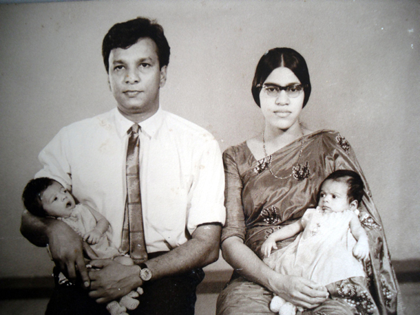 Father and mother with me & my twin