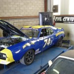 1974 AMC road race Javelin AMX on the dyno at Evil Genius racing in Sacramento