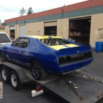1974 AMC Javelin race car blue with yellow stripes