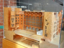 I always like it when they put a model of the building in the completed lobby