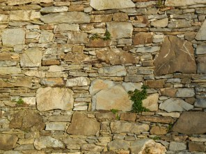 The stone wall beside my first walking path.