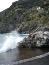 Water crashing on the breakers at Vernazza.