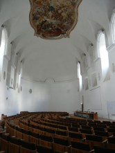 which is now a lecture hall. This is what I mean about just painting the old frescoed walls white. Its sad.