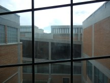 The museum spiraled up a shallow ramp which created interesting window mullion angles.