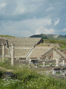 The Ascelpium theater foreground and the Roman city of Pergamon in the background.